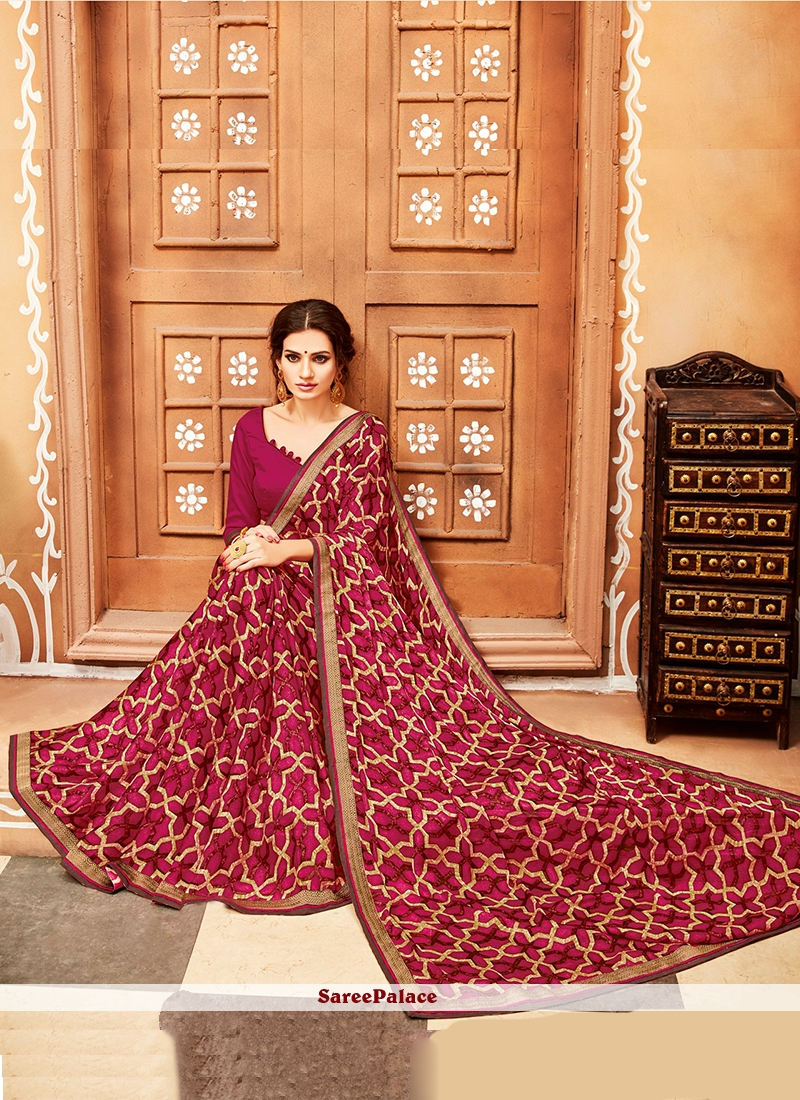 Casual Saree Printed Georgette in Red