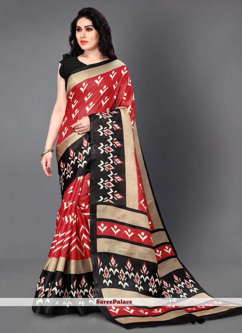 Casual Saree Printed Silk in Black and Red