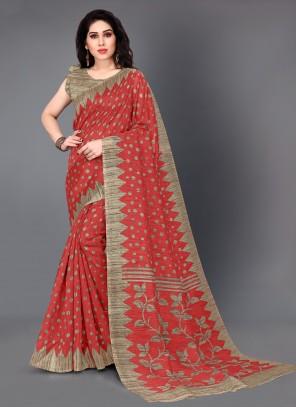 Casual Saree Printed Silk in Red