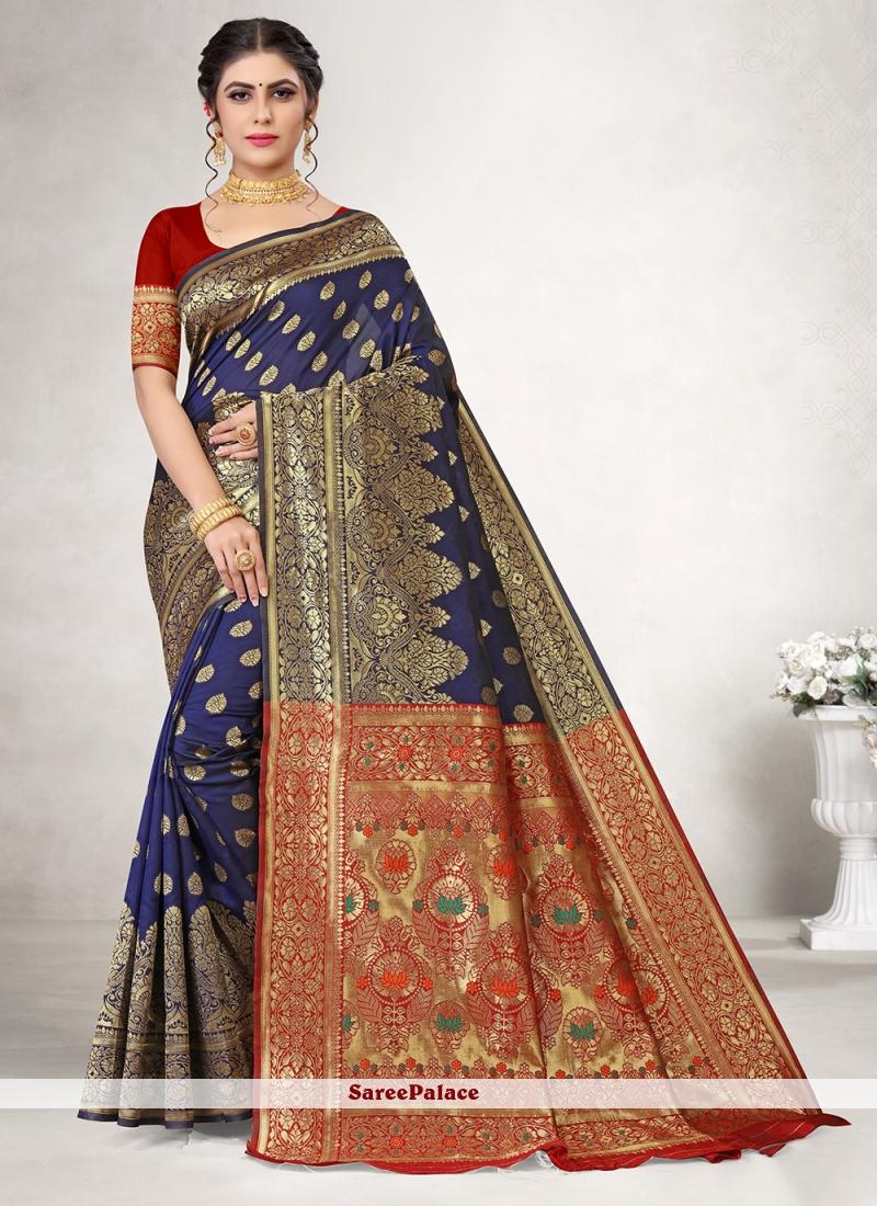 Casual Saree Weaving Jacquard Silk in Blue