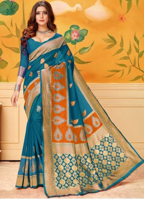 Casual Saree Woven Cotton in Firozi