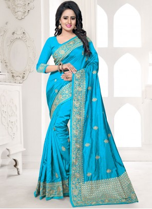Catchy Blue Traditional  Saree