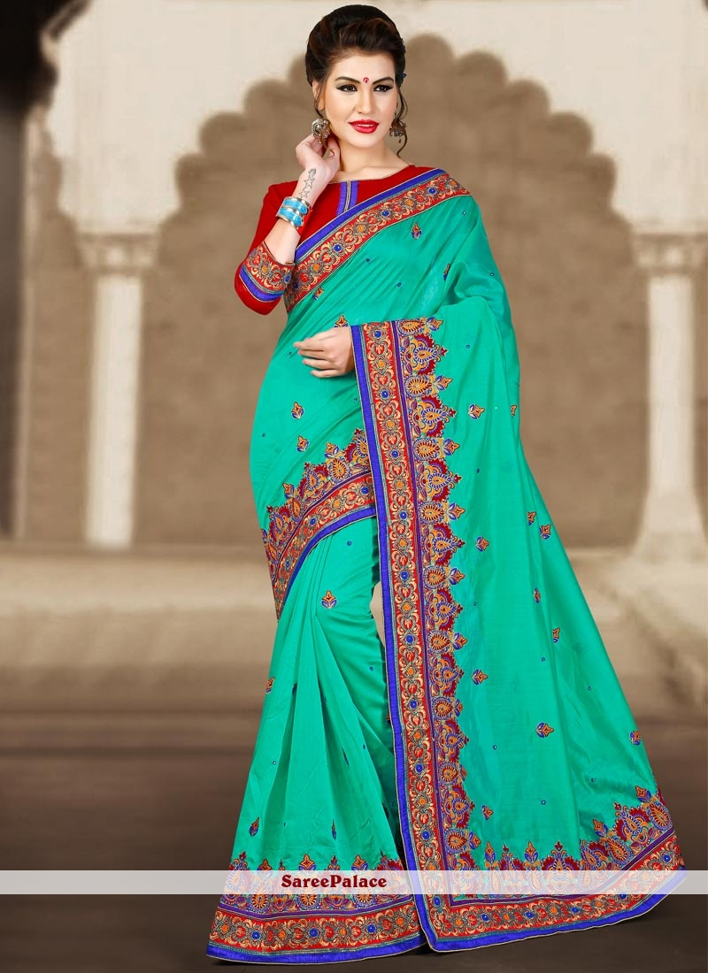 Catchy Embroidered Work Chanderi Classic Designer Saree