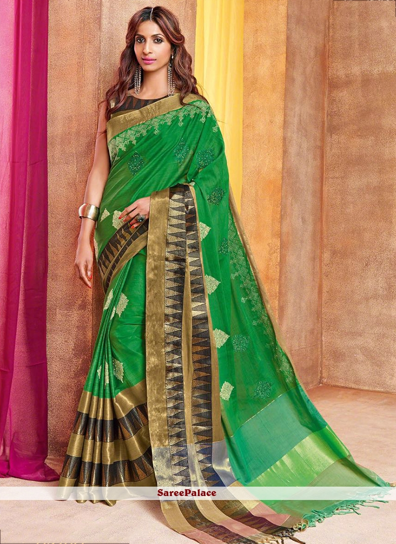 Catchy Green Embroidered Work Cotton Silk Traditional  Saree