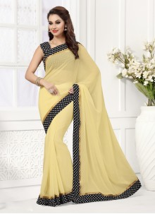 Catchy Patch Border Work Beige Designer Saree