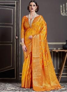 Catchy Weaving Work Orange Designer Traditional Saree