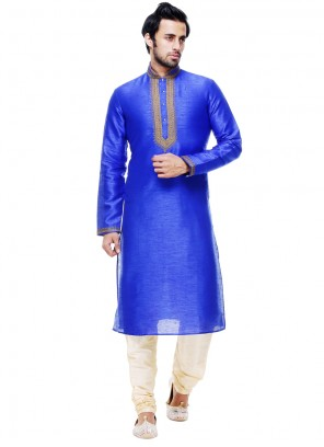 Blue Silk Plain Work Kurta Pyjama