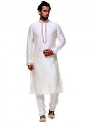 Off White Silk Embroidered Work Kurta Pyjama