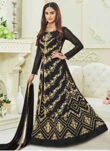 Celestial Faux Georgette Black Long Choli Lehenga
