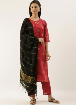 Chanderi Abstract Print Trendy Salwar Suit in Red