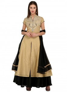 Cream Chanderi Readymade Salwar Suit