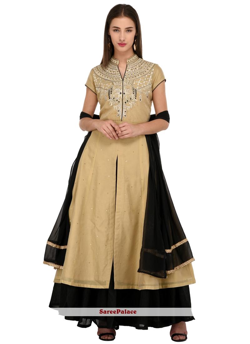 1e6f96abfcd9 Buy Cream Chanderi Readymade Salwar Suit Online