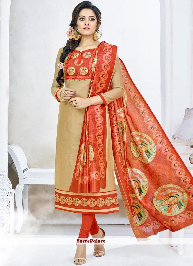 Chanderi Beige and Orange Churidar Suit