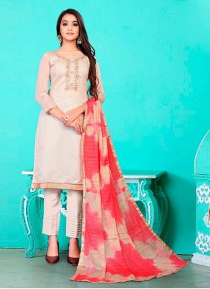 Chanderi Beige Fancy Pant Style Suit
