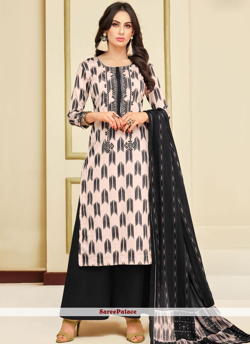 02f3550f9d Buy Chanderi Black and White Print Designer Palazzo Salwar Suit Online