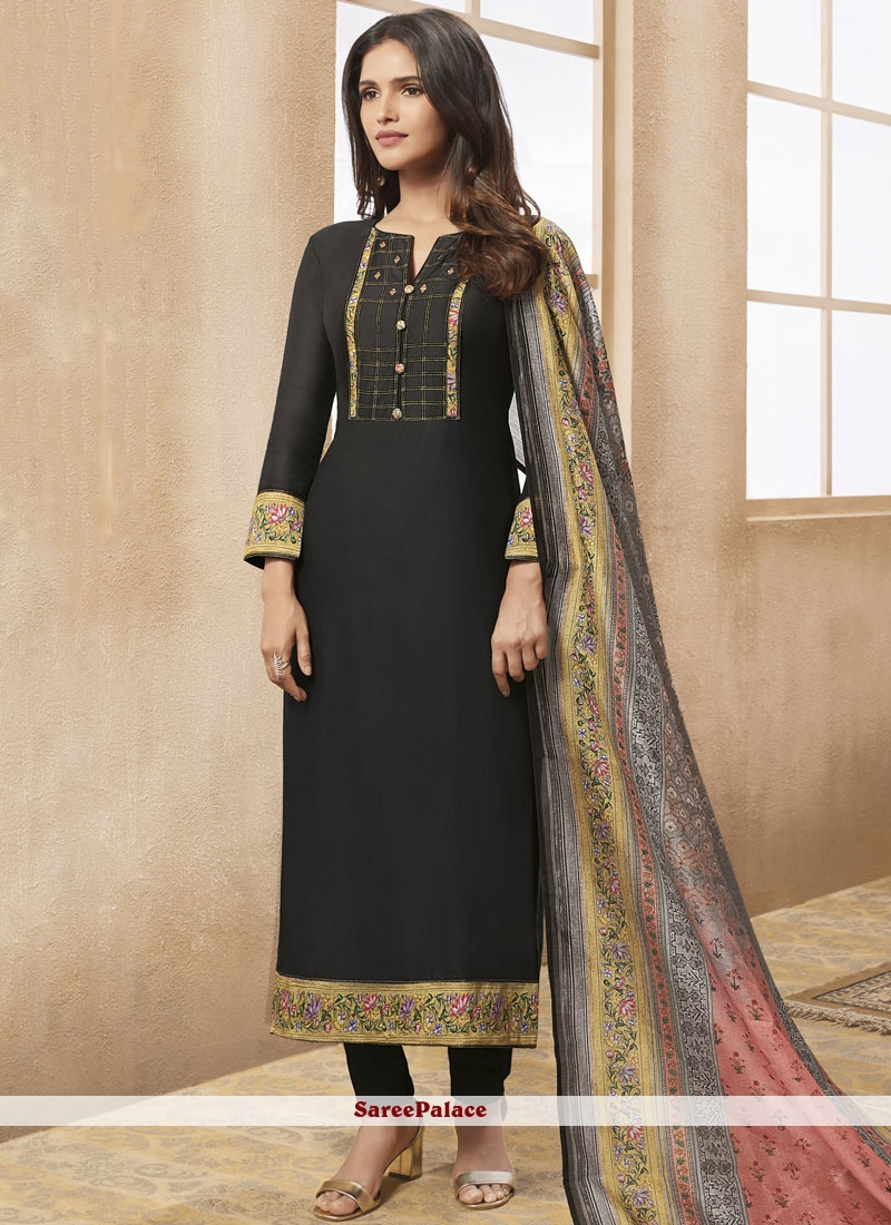 Chanderi Black Designer Straight Suit