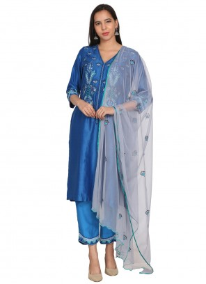 Chanderi Blue Embroidered Readymade Suit