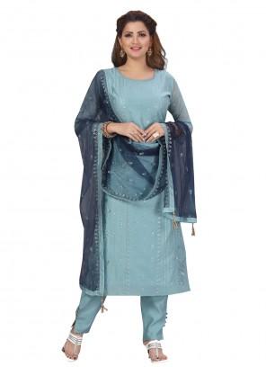 Chanderi Blue Fancy Designer Straight Suit