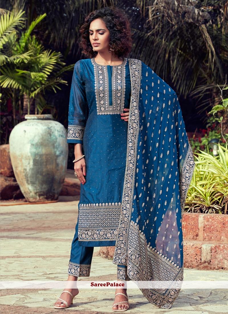 Chanderi Blue Fancy Readymade Suit