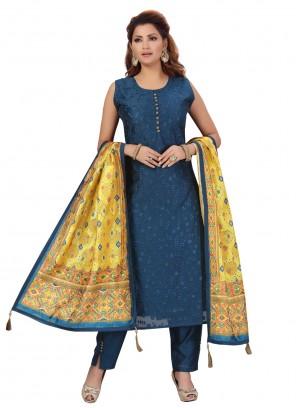 Chanderi Blue Pant Style Suit