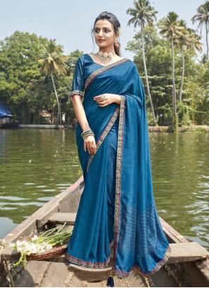 Chanderi Blue Printed Saree