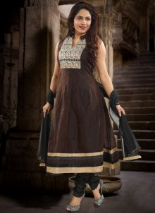 Chanderi Brown Patchwork Salwar Kameez