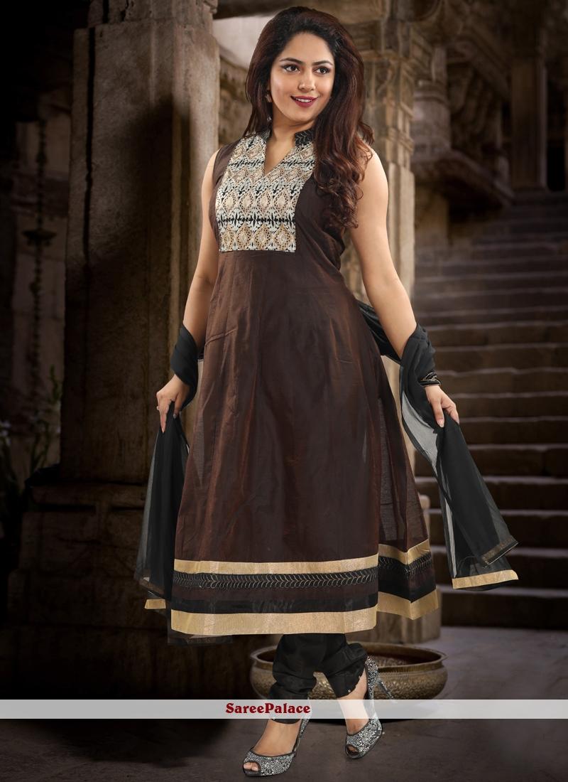 Chanderi Brown Patchwork Salwar Kameez