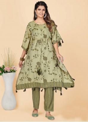 Chanderi Green Casual Designer Kurti