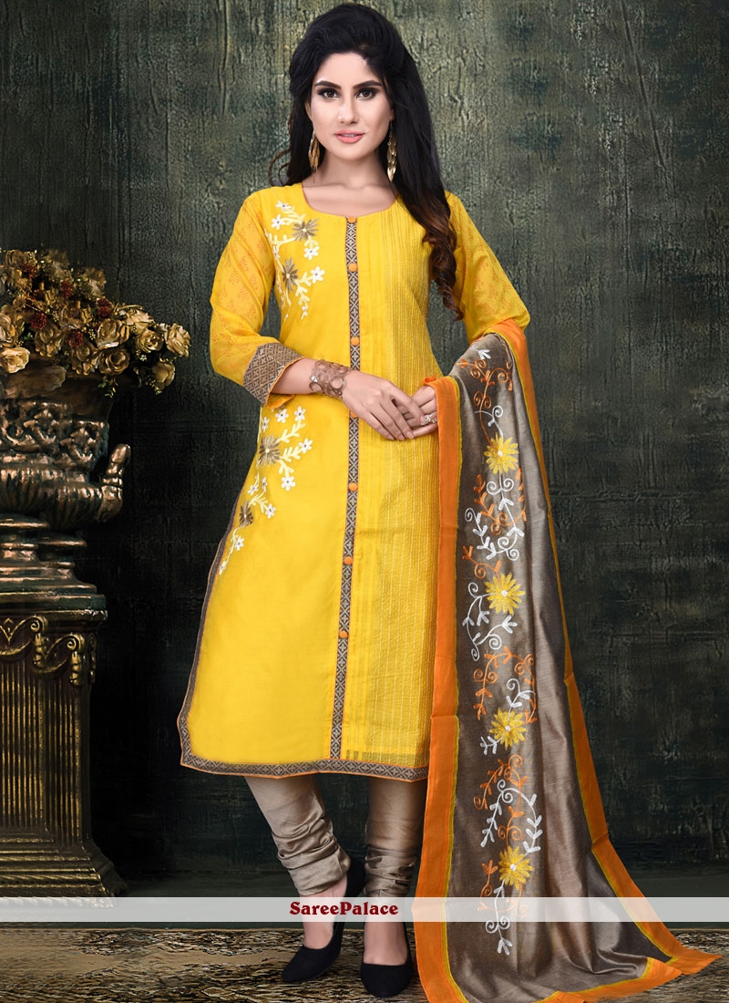 Yellow Chanderi Ceremonial Readymade Suit