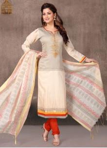 Off White Chanderi Churidar Designer Suit