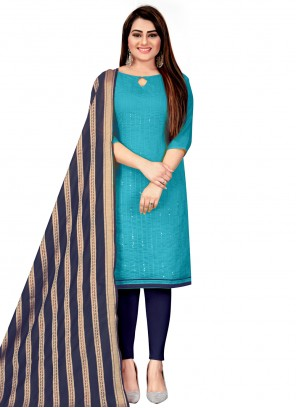Blue Chanderi Embroidered Churidar Suit