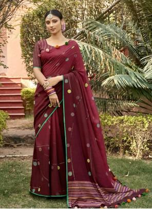 Chanderi Classic Saree in Maroon