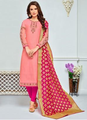 Chanderi Cotton Anarkali Salwar Suit