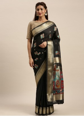 Chanderi Cotton Black Classic Saree