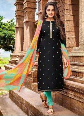 Chanderi Cotton Black Thread Salwar Kameez