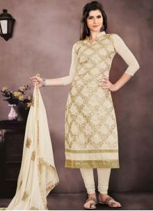 Chanderi Cotton Cream Embroidered Salwar Kameez