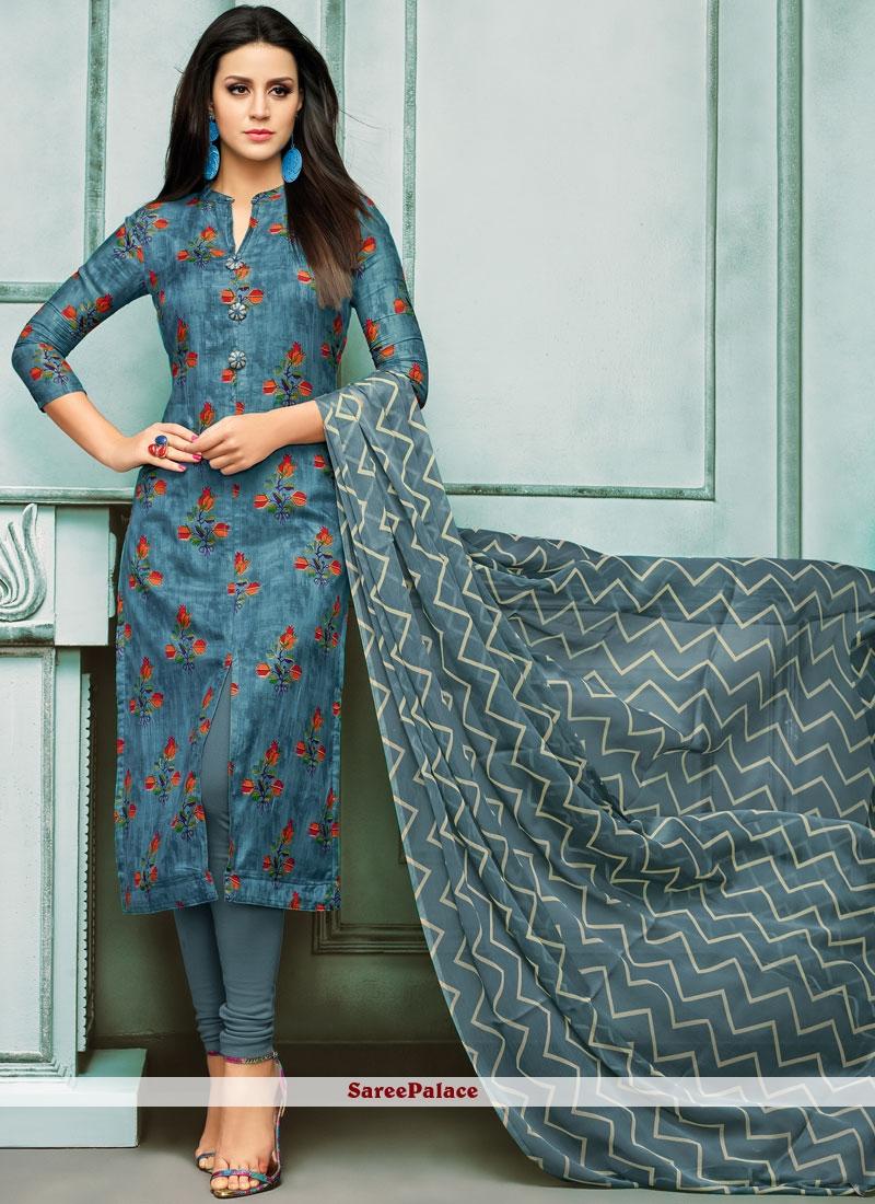 Chanderi Cotton Embroidered Blue Churidar Salwar Suit