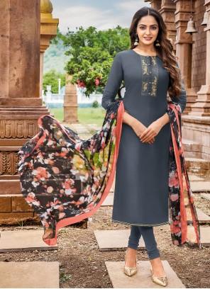 Chanderi Cotton Grey Trendy Salwar Kameez