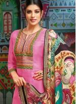 Chanderi Cotton Pink Print Designer Palazzo Suit