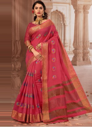 Chanderi Cotton Pink Weaving Designer Traditional Saree