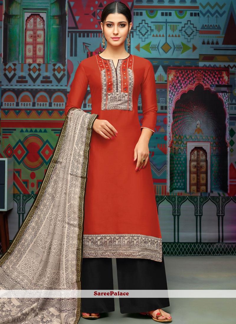 Red Chanderi Cotton Print Designer Palazzo Suit