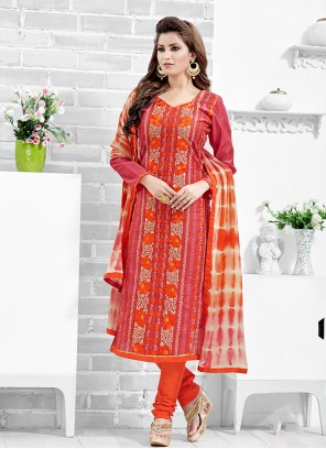 Chanderi Cotton Red Printed Salwar Kameez