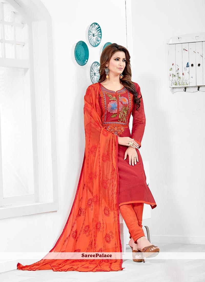Chanderi Cotton Salwar Kameez in Red