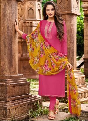 Chanderi Cotton Thread Designer Salwar Kameez in Pink
