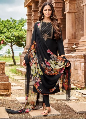Black Chanderi Cotton Trendy Salwar Suit