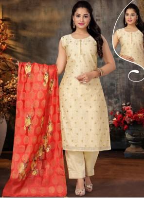 Chanderi Cream Embroidered Designer Suit
