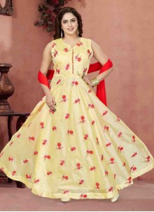 Chanderi Cream Embroidered Readymade Anarkali Suit