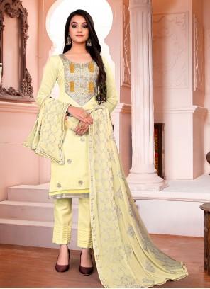Chanderi Cream Fancy Pant Style Suit