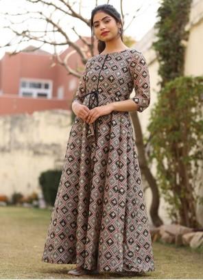 Chanderi Designer Gown in Multi Colour