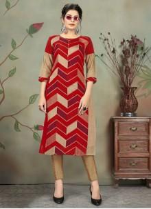 Chanderi Red Designer Kurti